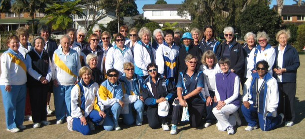 Players and Officials from North Shore District at Harbord Bowling Club for the Jean McKinnon Shield.