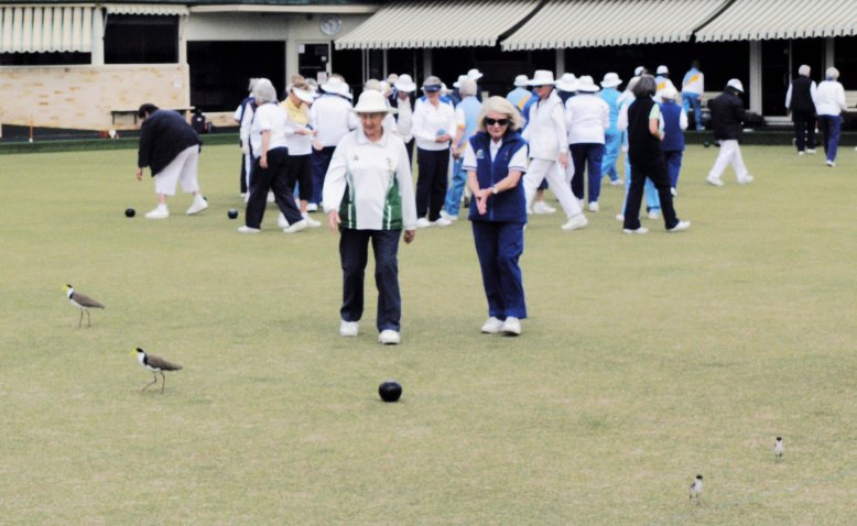 As bowlers collect their bowls from the