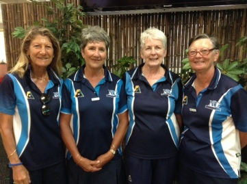 Senior Fours runners-up 2016 -- Louise Hamshere, Lesley Szumylo, Maggie Jay, Gill Barton (Neutral Bay)