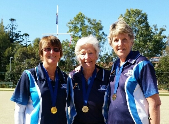 2017 Region 15 Triples Champions E Blackwell, J Palmer, J Hepburn (Neutral Bay)